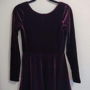 Swoop back velvet dress